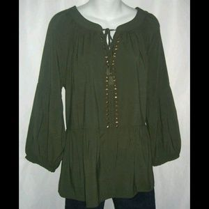 Liz Claiborne Army Green Studded Boho Blouse Sz XL